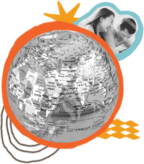 Black and white globe with people around it.